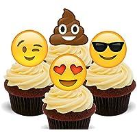 Decoraciones de emojis comestibles de oblea para coronar pasteles y cupcakes, 12 unidades
