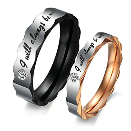 "Jsfyou da uomo donna set ""I Will always be with you, acciaio inossidabile matrimonio anello di fidanzamento Band, Donna misura 22 e uomo misura 30, colore: Black Rose Gold, cod. CLE696"