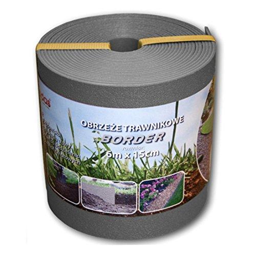 Rasenkante Kunststoff 6mx15cm grau, Beetumrandung Mähkante Beeteinfassung