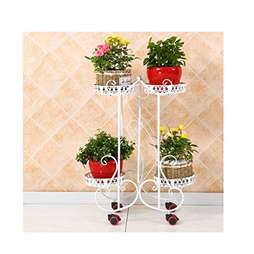 2-Tier 4 Korb Pflanzenständer mit Rädern Metall Schmiedeeisen Pflanzenständer Indoor Blumenständer, beweglichen Blumenständer für Hausgarten Garten Terrasse Balkon -