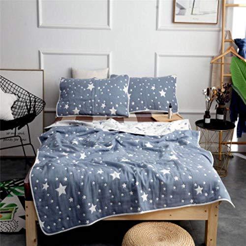 HUILIN Star Print Gaze Baumwolle Sommer Quilt Pentagramm Tröster Handtuch werfen Decken für Erwachsene Kinder Plaid Bettdecke Bettlaken, blau, 150x200cm