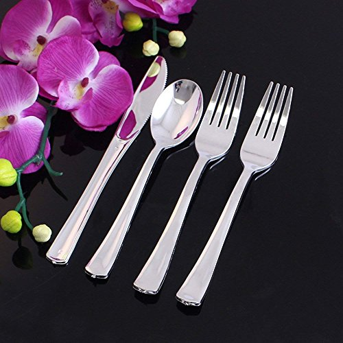 Party Bargains Disposable Silver Cutlery | Dynasty Collection Elegant & Heavyweight Polished Silverware ( Forks, Knives, Spoons ) - Combo Party Pack | 160 Count