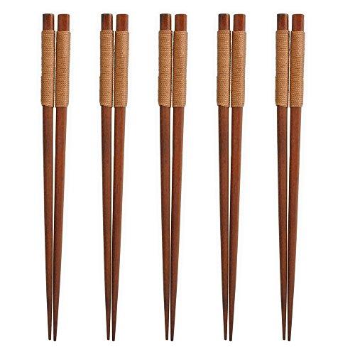 Gosear 5 Pares Palillos de Madera Japoneses para Regalo Kit Vajilla con línea Atado