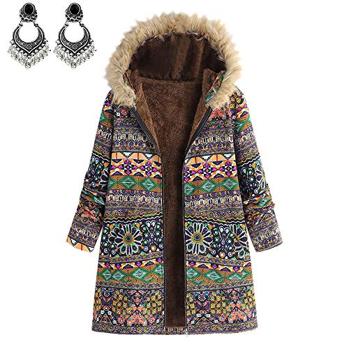 Styledresser giacche vendita calda cappotto donna lungo elegante,donna inverno caldo outwear floreale stampare cappuccio tasche vintage ▾ oversize cappotti