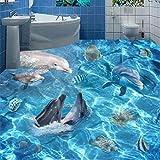 Pbldb Unterwasserwelt Marine Fototapete 3D Unterwasserwelt Delfine Bodenfliesen Wandbilder Badezimmer Wohnzimmer Rutschfeste Bodenaufkleber-200X140Cm
