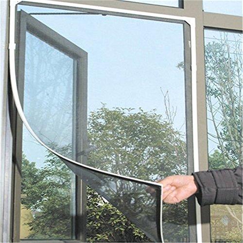 Jer zanzariera per finestra, zanzariera con velcro invisibile tenda a vela per finestra per protezione da insetti e zanzare, bianco 150x130cm