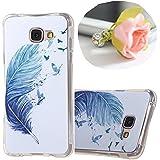 Mobilefashion Ultraslim Protecteur Shell Housse Silicone TPU Gel Coque Étui pour Samsung Galaxy A3 (2016) (Plume d'oiseau bleu MK)