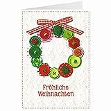 Knopfkarte für Weihnachtsgrüße - X-mas - Knopfkranz - 11