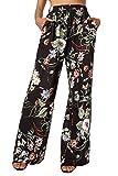 BaiShengGT Damen Blumenmuster Locker Weite Beine Lange Hose mit Seitentaschen Schwarz-Blumen S