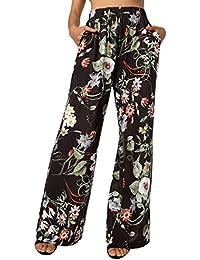 BaiShengGT Damen Blumenmuster Locker Weite Beine Lange Hose mit  Seitentaschen 9435de6187