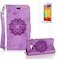 For Samsung Galaxy A3(2017 Model) Case A320 Cover, Funyye Classic Premium Folio PU Leather Wallet Magnetic Flip Cover and [Credit Card Holder Slots] Mandala Flower Patterns Design Protective Case Cover for Samsung Galaxy A3 (2017 Model)-Purple