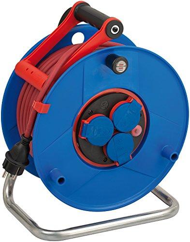 Brennenstuhl Garant Bretec IP44 Gewerbe-/Baustellen-Kabeltrommel (40m - Spezialkunststoff, Baustelleneinsatz und ständiger Einsatz im Außenbereich, Made In Germany) blau