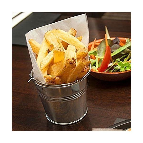 OUNONA 6pcs 10.5×7.2×10.5cm Mini Cubo del Metal de la hojaldra Cubos de hojalata de Las fritadas del francés