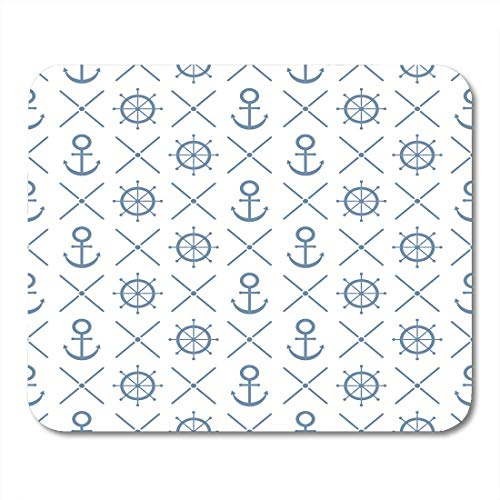 Luancrop Mauspads Blue Nautical Navy Patterns Anchors Strips Handwheel The ist entfernt Hochzeitsalben Arts and Scrapbooks Mauspad für Notebooks, Desktop-Computer Matten Bürobedarf