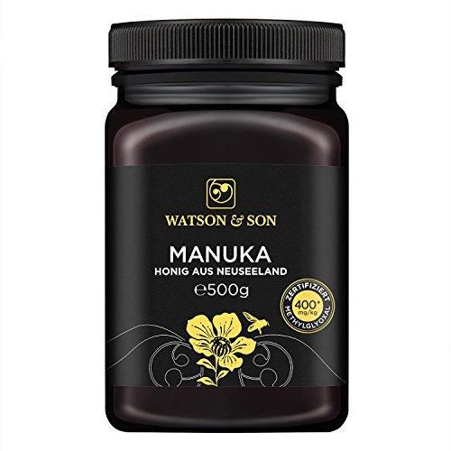Watson & Son zertifizierter Manuka-Honig MGO 400+ (500g) • Premium Qualität • reines Naturprodukt • antibakteriell aktiv • mit kontrolliertem Methylglyoxal-Gehalt • Direktimport aus Neuseeland