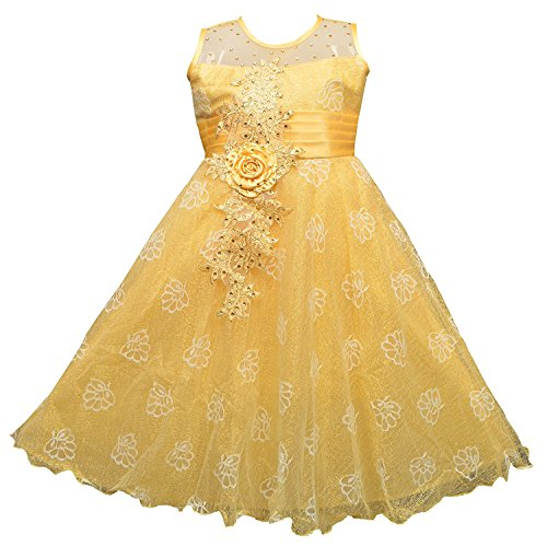 AD & AV Girl's Synthetic Georgette Golden Sparkle Dress (320_FROCK_BM_LEMON_CC26, 4-5 Years)