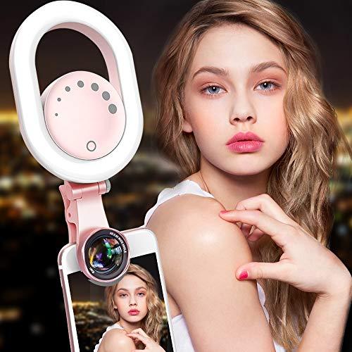 LUXSURE Selfie Ring Licht Weitwinkelobjektiv Lens Kit 48 LED Kamera Make-up Licht Kit Einstellbar, wiederaufladbar für alle Handy, iPhone Ipad Samsung Die meisten Smartphones Tablet Laptop Led Handy
