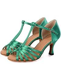 Mujer Latino Satén Sandalia Zapatilla Tacones Alto Entrenamiento Hebilla Corbata De Lazo Poroso Tacón Carrete Negro Beige Verde