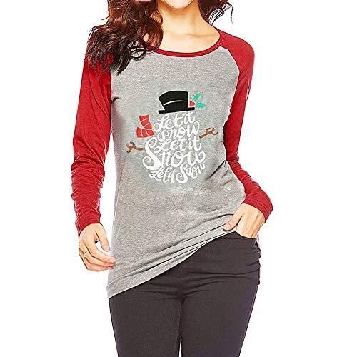 Preisvergleich Produktbild Tianwlio Damen Lässige Langarmshirt Hoodie Pullover Mode Weihnachten Schneemann T-Shirt Bluse Tops mit Sieben Vierteln Gedruckt Blusen rot XXL