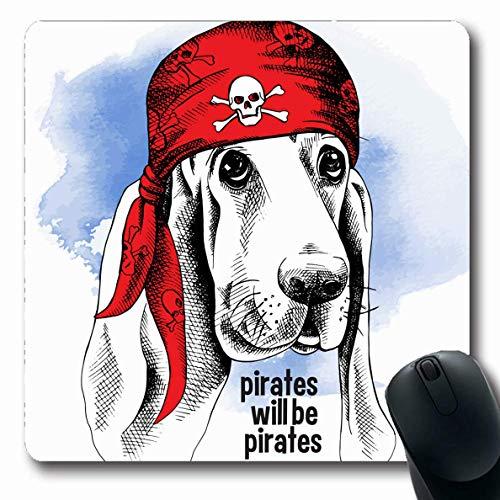 Hunde Des Spiel Kostüm Knochen - Luancrop Mauspads für Computer Retro Basset Hound-Hund, der rotes Piraten-Kostüm-Tier-Bandana-Seeschwarz-Knochen-Kapitän-Design-rutschfeste längliche Spiel-Mausunterlage trägt