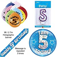 5th Birthday Party Set Age 5 Boys (Banner Balloons, Candle, Badge)