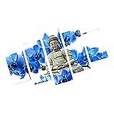 MagiDeal Leinwanddruck 5 teilig Malerei Bild für Wohnzimmer Haus Büro Halle Wand Dekor , Leinwand , Buddha Blumen Muster