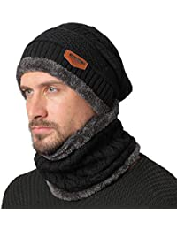 3a1d14924c5 NovForth Hat Neck Warmer Set Beanie Knitting Hat Scarf Warm Fleece Lined  Wool Baggy Slouchy Thick