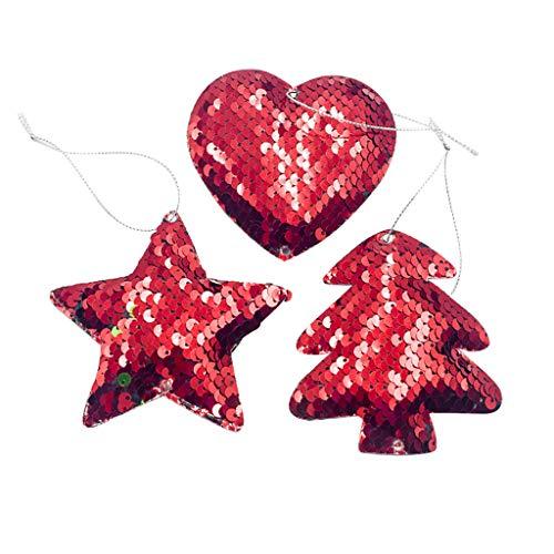 Myspace 2019 Dekoration für Christmas Weihnachtstuch Weihnachtsglocke Liebe Anhänger Kreative Pailletten Weihnachtsbaum Dekoration Exquisite Premium Holz Anhänger 3 Paket Hängende Dekoration -