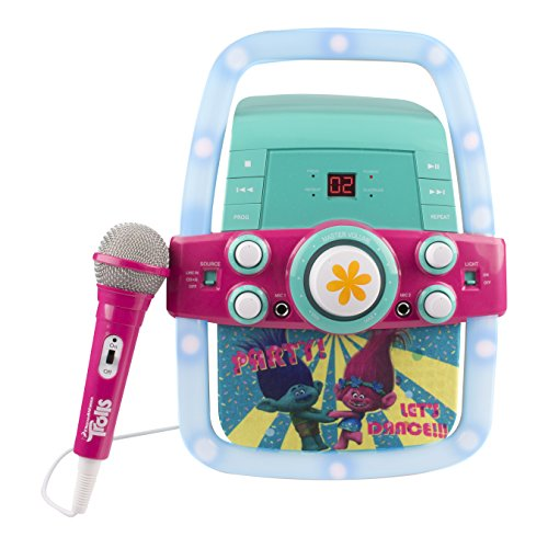 Price comparison product image Kids Karaoke Machine Portable Speaker Kit for Children / Kids Toys with Microphone Flashing Bar Karaoke with MP3 Player AUX Jack Point for Connect your iPad,  iPhone,  iPod,  Tablet Device,  or the CD player to play music & sing along! (Trolls)