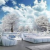 BHXINGMU Benutzerdefinierte 3D Wandmalerei Großer Baum Weiße Hirsche Winter Schnee Fototapete Wohnzimmer Dekoration 300Cm(H)×450Cm(W)