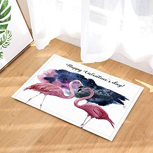 r Bath Rugs Card Pink Flamingo and Happy Valentine's Day Inscription Non-Slip Doormat Floor Entryways Indoor Front Door Mat Kids Bath Mat Bathroom ()