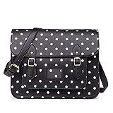Miss Lulu marca Vintage a pois in finta pelle lavoro ventiquattrore borsa sacchetto di scuola borsa, (Polka Dots Black),