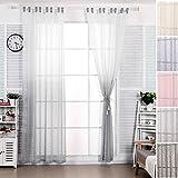 Woltu # 702, tapa transparente de rayas look con color Runs/streaking–Cortina de gasa ventana cortina para sala de estar habitación de los niños dormitorio cocina, Weiß + Grau, 140x225 cm