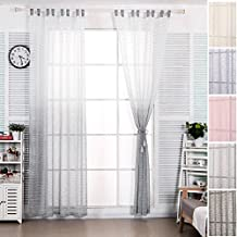WOLTUR VH5855gr2 Gardine Transparent Mit Schlaufen In Gestreift Leinen Optik Farbverlufen Schlaufenschal Vorhang