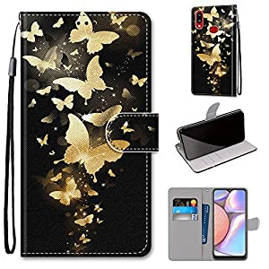 Miagon Full Body Case for Samsung Galaxy A10S,Colorful Pattern Design PU Leather Flip Wallet Case Cover with Magnetic Closure Stand Card Slot,Gold Butterfly   2