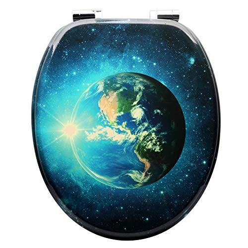 Preisvergleich Produktbild WOLTU #2 Premium WC-Sitz Toilettensitz mit Absenkautomatik, MDF Holzkern, Softclose Scharnier, Antibakteriell, Desgin Décor