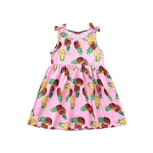 YEARNLY Kinder säuglingsbabymädchen Nette schöne Ananas-Druckbogenprinzessinkleid-Freizeitkleid-Partykleid Pink 70 80 90 ()
