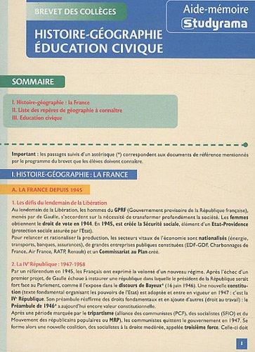 Histoire / Géographie / Education civique