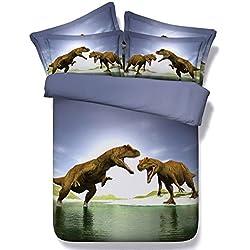 SQL 3D impresión de una familia de cuatro hojas de estilo europeo y americano ropa de cama de colcha de dinosaurio . king . blue