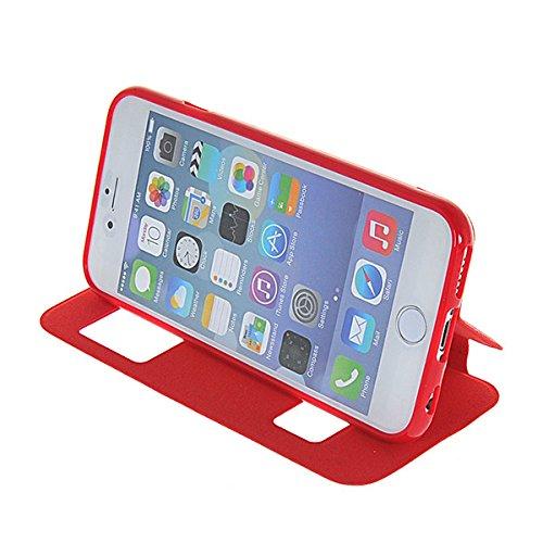 iPhone 6 Coque,COOLKE [Rouge] View Window Flip Cover Coque Etui Housse de Protection ?tui ¨¤ rabat Case Pour Apple iPhone 6 (4.7 Inch) Rouge