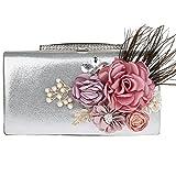 KAXIDY Blumen-Entwurf Handtaschen Clutch Abendtasche Handtasche Handmade Clutch Brauttasche Hochzeittasche für Damen Mädchen (Silber)