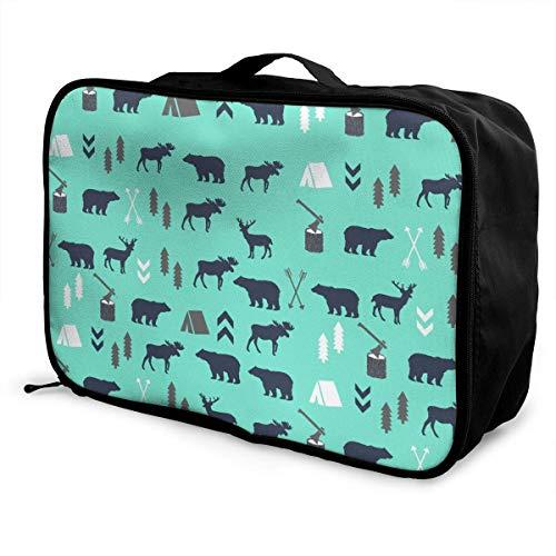 GepäckträgertaschenGepäck ReisetascheTravel Lightweight Waterproof Foldable Storage Carry Luggage Duffle Tote Bag - Mint Grey Navy Blue Bear Moose Forest Arrow Pattern 3D printed -