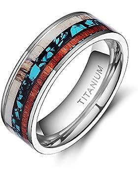 Hirsch Geweih Ring aus Titan Holz Türkis