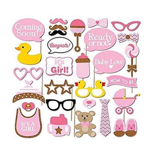 orenes Baby Dusche Requisiten Fotokabine für Party Deko - Maske Brille Schuhe Flasche (Baby-dusche-party-kit)