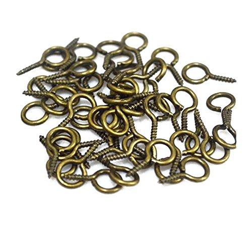 500 spilli a cerchio in metallo attaccati a vite, con occhielli, per realizzare gioielli, piccoli occhielli, per appendere perline e bottiglie di sughero (oro), bronzo