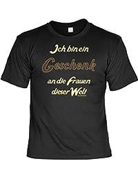 T-Shirt Funshirt Macho - Ich bin ein Geschenk an Frauen dieser Welt - Geschenk mit Urkunde mit Humor - Farbe: schwarz