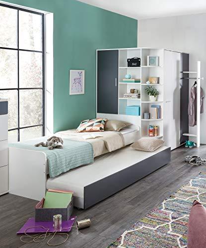JugendzimmerJoker in Weiß und Graphit 3 teilig mit begehbaren Eckkleiderschrank inklusive Garderobe, 90er Jugendbett mit Ausziehliege