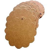 Aussel 100 pezzi smerlato matrimonio Brown Kraft modifica di carta a forma di Sacchetto Bomboniera ricordo etichette con corde di iuta