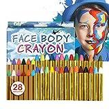 URAQT Visage Peinture des Crayons, 28 Couleurs Visage Kits de Peinture Corporelle Non-Toxique Professionnel Peinture Parterres Parfait pour Halloween, Cosplay, fête Soirées à Thème 28 Couleurs