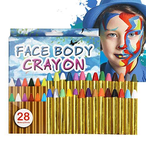 URAQT Gesichtsfarben Kinder, Gesicht Malen Buntstifte Ungiftig Körperbemalung Sticks Körper Tattoo set Buntstifte Kit für Kinder, Kleinkinder 28 Farben (Tattoo-tisch-set)